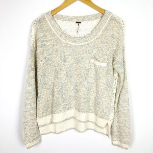 Free People Marled Lace Back Crew Neck Sweater